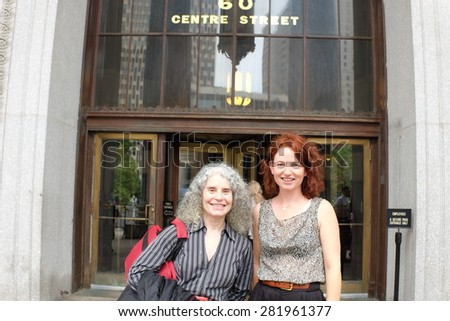 NEW YORK CITY - MAY 27 2015: a hearing was held in Manhattan Supreme court on whether to grant habeas corpus to two chimpanzees, Leo & Hercules. Author Laura Jean McKay (rt) with activist Lynn Manheim