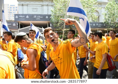 NEW YORK CITY - MAY 31 2015: the 51st annual Israel Day parade & festival filled Fifth Avenue from 57th to 74th Streets with thousands of marchers