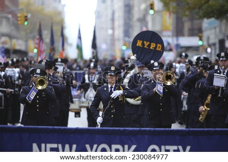 NEW YORK CITY - NOVEMBER 11 2014: the 95th annual Veteran's Day parade along Fifth Avenue is the largest Nov 11 celebration in the United States.