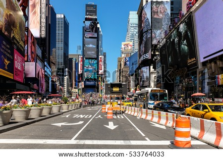 NEW YORK CITY, NY - APRIL 27, 2016: Times Square blocked road during road repair.  New York City, USA.