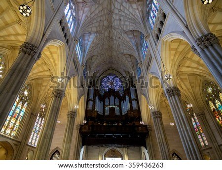 New York City, NY USA - 05/01/2015 - New York City Saint Patrick's Cathedral Rose Window and Pipe Organ