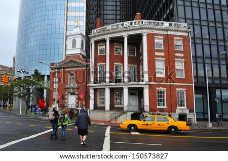 NEW YORK CITY - OCT 10:The Shrine of Saint Elizabeth Ann Seton (left) next to the James Watson House (right) on Oct 10 2010.It's a New York City landmark located in lower Manhattan.