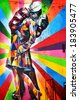 NEW YORK CITY - OCTOBER 12: A Mural by artist Brazilian artist Kobra October 12, 2014 in New York, NY. The colorful mural is based on Alfred Eisenstaedt's photo from V-J Day in Times Square. - stock