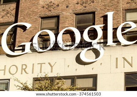 NEW YORK CITY - OCTOBER 22, 2015: Exterior view of a Google headquarters building. Google is a multinational corporation specializing in Internet-related services and products
