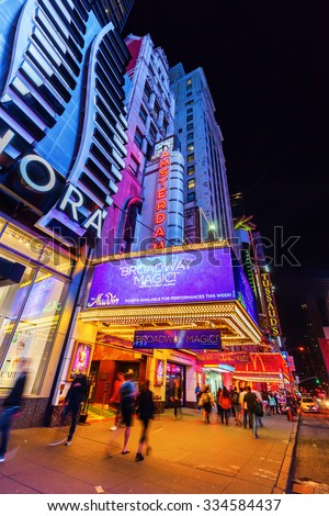 NEW YORK CITY - OCTOBER 08, 2015: New Amsterdam Broadway Theater at night. Located in Theater District of Manhattan, built in 1902â??1903, designed by architecture firm of Henry Hertz and Hugh Tallant