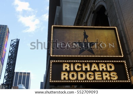 NEW YORK CITY - TUESDAY, DECEMBER 27, 2016: The marquee for the Broadway musical Hamilton, at the Richard Rodgers Theater.