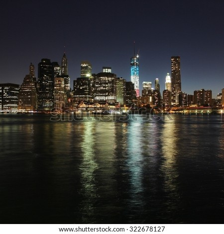 New York City, United States - Manhattan skyline from Brooklyn. Night view.