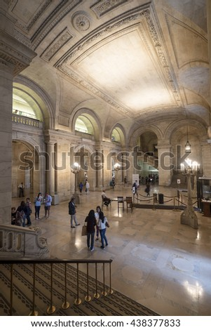 NEW YORK CITY, USA - JUNE 08 2016 - Interior of the Public library on the 5th avenue, Bryant Park, Manhattan, New York City, USA