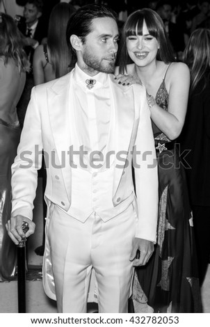 New York City, USA - May 2, 2016: Jared Leto and Dakota Johnson attend the Manus x Machina Fashion in an Age of Technology Costume Institute Gala at the Metropolitan Museum of Art