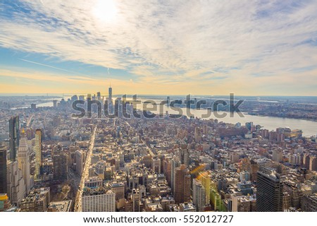 NEW YORK - 20 DECEMBER, 2016: Amazing Aerial View of New York City at Sunset Time