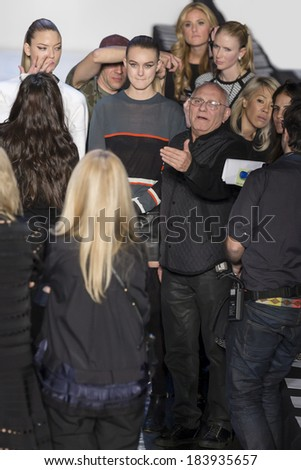 NEW YORK - FEBRUARY 08 2014: Martha Hunt and Andie Arthur attend the rehersal before the Herve Leger fall 2014 fashion show at New York Mercedes - Benz Fashion Week