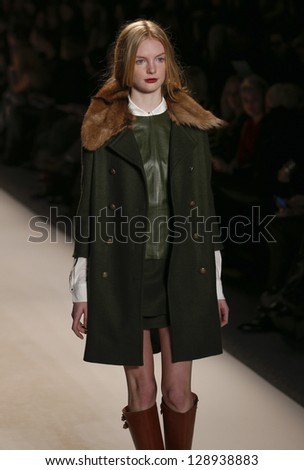 NEW YORK - FEBRUARY 13: Model walks runway during Fall/Winter 2013 presentation for Rachel Zoe collection at Mercedes-Benz Fashion Week at Lincoln Center on February 13, 2013 in New York