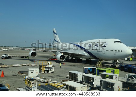 NEW YORK - JULY 6, 2016: El Al Boeing 747 at the gate in John F Kennedy Airport in New York. El Al Israel Airlines is the flag carrier of Israel
