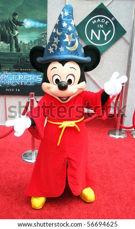 "NEW YORK - JULY 6: Mickey Mouse appears at the premiere of ""The Sorcerer's Apprentice"" at the New Amsterdam Theatre on July 6, 2010 in New York City."