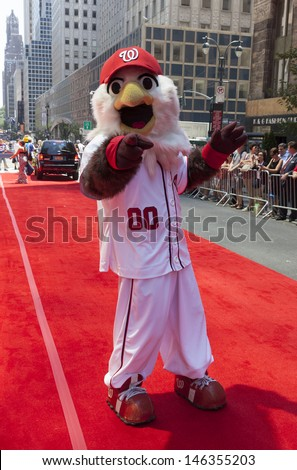 NEW YORK - JULY 16: Washington Nationals mascot Screech poses on red carpet during the MLB All-Star Game Red Carpet Show along 42nd street on July 16, 2013 in New York