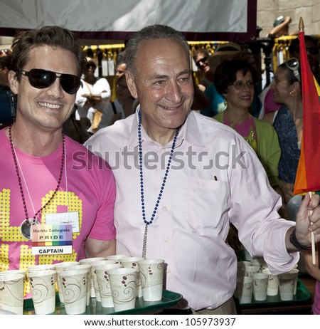 "NEW YORK - JUNE 24: US Senator Charles ""Chuck"" Schumer attends 2012 New York City's Pride March in New York on June 24, 2012."