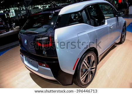 NEW YORK - March 23: A BMW i3 exhibit at the 2016 New York International Auto Show during Press day,  public show is running from March 25th through April 3, 2016 in New York, NY.