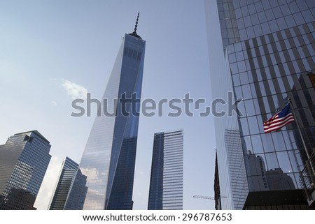 NEW YORK - May 30, 2015: Freedom Tower in Lower Manhattan on May 30, 2015. One World Trade Center is the tallest building in the Western Hemisphere and the third-tallest building in the world.