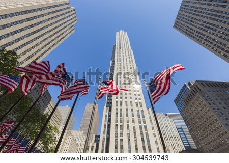 NEW YORK - MAY 26: Rockefeller Center on May 26, 2015 in NYC. Rockefeller Center is a complex of 19 commercial buildings, built by the Rockefeller family, located in Midtown Manhattan.