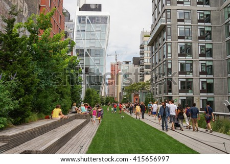 New York, New York - 10 August 2013: View of the High Line Park in New York City.