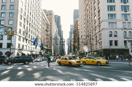 New york, New york,Usa. September 27th, 2015. Traffic jam in New york. NYC is a state in the USA and is the 27th-most extensive, fourth-most populous, and 7th-most densely populated U.S. state.
