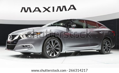 New York, NY - April 2, 2015: Exterior of Nissan Maxima car on display at New York International Auto Show at Javits Center