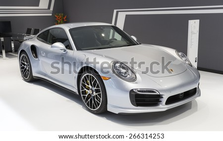New York, NY - April 2, 2015: Exterior of Porsche 911 Turbo S car on display at New York International Auto Show at Javits Center