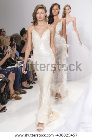 NEW YORK, NY - APRIL 18, 2016: Models walks the runway at at the Christian Siriano For Kleinfeld Spring/Summer 2017 Bridal Collection at Kleinfeld