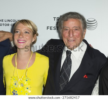 New York, NY - April 21, 2015: Remy Bennett and Tony Bennett attend Tribeca Film Festival screening of On The Town movie at Spring Studios
