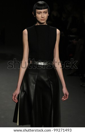 NEW YORK, NY - FEBRUARY 16: A model walks the runway at the Calvin Klein Fall 2012 fashion show during Mercedes-Benz Fashion Week on February 16, 2012 in New York City, USA