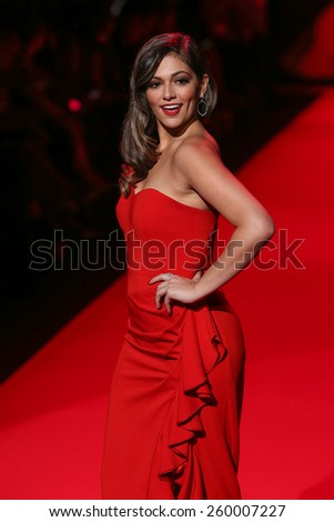 NEW YORK, NY - FEBRUARY 12: Bethany Mota walks the runway at the Go Red For Women Red Dress Collection 2015 fashion show during MBFW Fall 2015 at Lincoln Center on February 12, 2015 in NYC