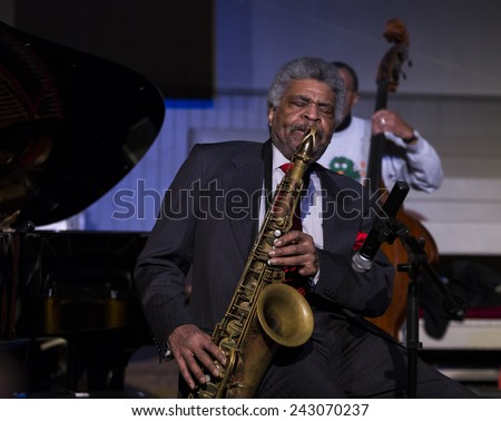 New York, NY - January 08, 2015: George Coleman plays as part of George Coleman quartet at Jazz Legends for Disability Pride concert at Quaker Friends Meeting House in Manhattan