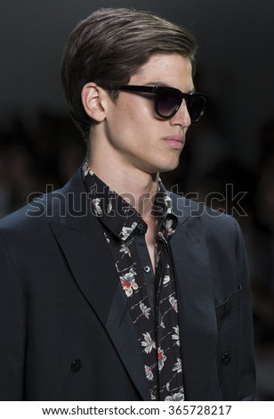 NEW YORK, NY - JULY 14, 2015: Gerard Sabe walks the runway during the Ovadia & Sons show at New York Fashion Week Men's S/S 2016 at Skylight Clarkson Sq