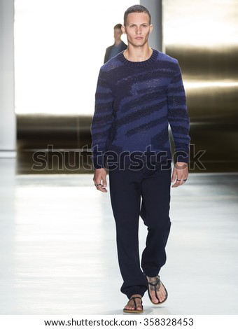 NEW YORK, NY - JULY 16, 2015: Nathaniel Visser walks the runway during the Perry Ellis show at New York Fashion Week Men's S/S 2016 at Skylight Clarkson Sq