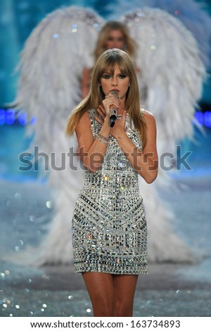 NEW YORK, NY - NOVEMBER 13: Singer Taylor Swift performs at the 2013 Victoria's Secret Fashion Show at Lexington Avenue Armory on November 13, 2013 in New York City.