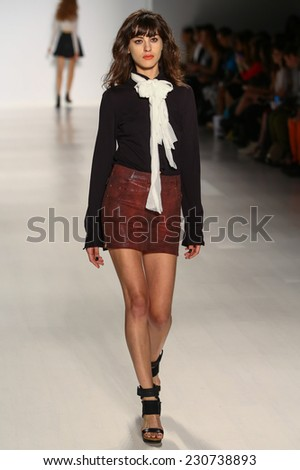 NEW YORK, NY - SEPTEMBER 05: A model walks the runway at the Mark And Estel fashion show during MBFW Spring 2015 at Lincoln Center on September 5, 2014 in NYC