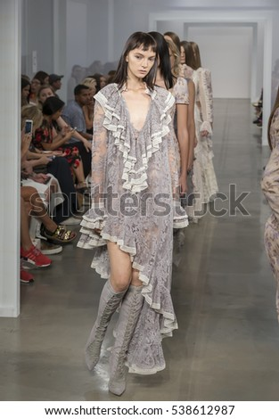 NEW YORK, NY - SEPTEMBER 09, 2016: Irina Liss walks the runway at the Zimmermann Spring Summer 2017 fashion show during New York Fashion Week