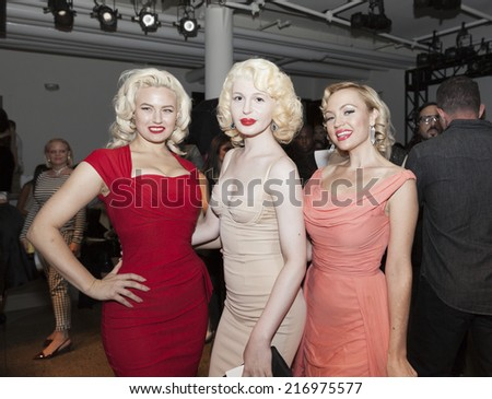 NEW YORK, NY - SEPTEMBER 10, 2014: (L-R) Gia Genevieve, Mona Marlowe, Emily Low  attend The Blonds fashion show during MADE Fashion Week Spring/Summer 2015 at Milk Studios