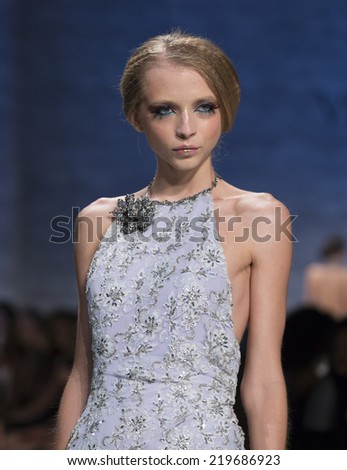 New York, NY - September 6, 2014: Model walks runway for Venexiana collection by Kati Stern at Spring/Summer 2015 Fashion week in Lincoln Center