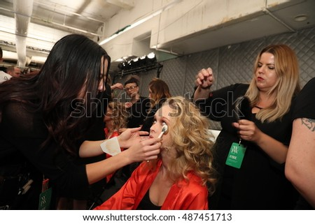 NEW YORK, NY - SEPTEMBER 10: Models getting ready backstage before the KYBOE! fashion show during New York Fashion Week on September 10, 2016 in New York City.