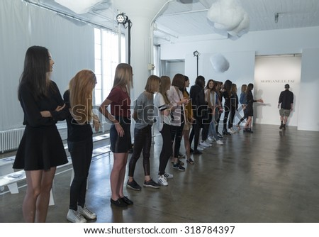 New York, NY - September 14, 2015: Models walk runway during rehearsal for Morgane Le Fay during New York Spring/Summer 2016 fashion week at Hudson Studios on 26th stree