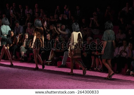 NEW YORK, NY - SEPTEMBER 11: Models walks the runway at Marc Jacobs during Mercedes-Benz Fashion Week Spring 2015 at Seventh Regiment Armory on September 11, 2014 in NYC.
