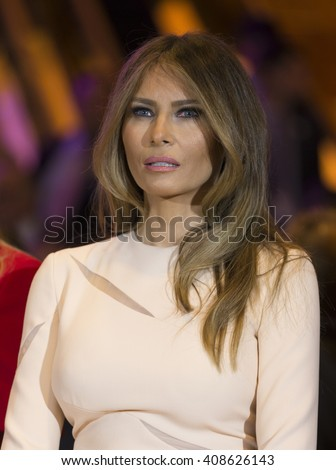 New York, NY USA - April 19, 2016: Melania Trump attends Donald Trump victory celebration at Trump Tower on 5th Avenue