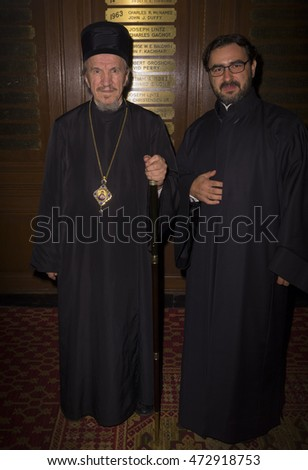 New York, NY USA - August 22, 2016: Bishop Mitrophan, Father Zivojin attend the Save Saint Sava Benefit at the New York Athletic Club