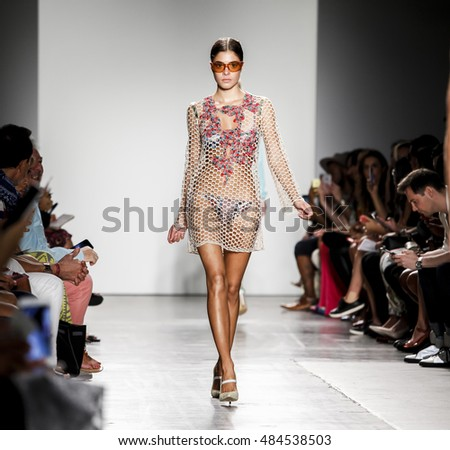 New York, NY, USA - September 11, 2016: Model walks runway for the Custo Barcelona Spring/Summer 2017 runway show during New York Fashion Week SS 2017 at Pier 59 Studios at Chelsea Piers, Manhattan