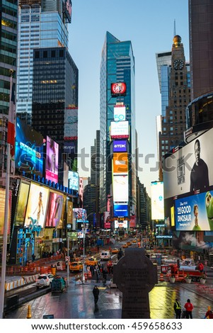 NEW YORK - OCT 31: Time Square  at twilight on Oct 31, 2015 in New York, USA. It is a major commercial intersection and neighborhood in Midtown Manhattan, New York City.