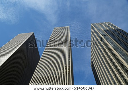 NEW YORK - OCTOBER 13, 2016: Skyscrapers of the 6th avenue or Avenue of the Americas in Manhattan