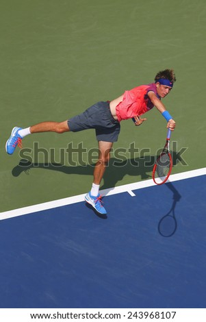 NEW YORK - SEPTEMBER 2, 2014: American boys junior player Jared Donaldson during second round match at US Open 2014 at National Tennis Center in New York