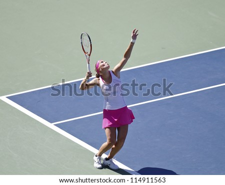 NEW YORK - SEPTEMBER 9: Andrea Hlavackova of Czech Republic serves ball during final women doubles match against Roberta Vinci/Sara Errani at US Open tennis tournament on September 9, 2012 in New York