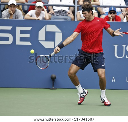 NEW YORK - SEPTEMBER 2: Juan Martin Del Potro returns ball during 4th round match against Leonardo Mayer of Argentina at US Open tennis tournament on September 2, 2012 in Flushing Meadows New York
